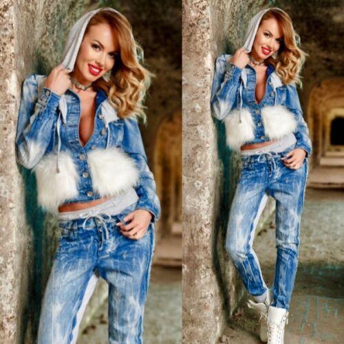 FOGGI Damen 2 Teiler Jeansjacke mit Jeanshose Komplett  Blau mit Grau 34 38 36