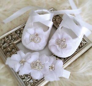 Image is loading Baby-Girl-White-Christening-Baptism-Shoes-Chiffon-Flowers- eb8950b41858