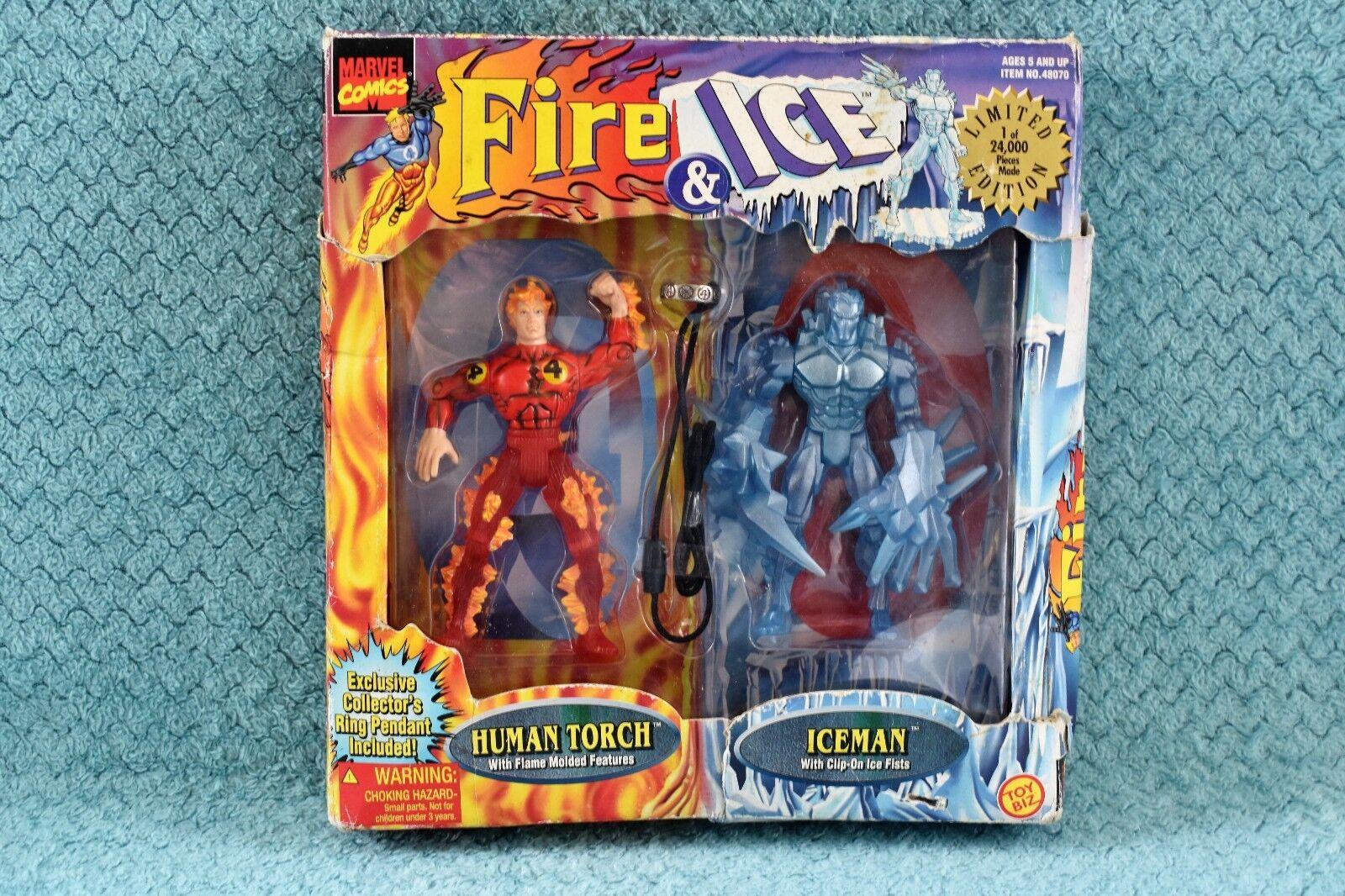 Limited Edition Toybiz Marvel Comics Fire & Ice - Human Torch & Iceman Figures