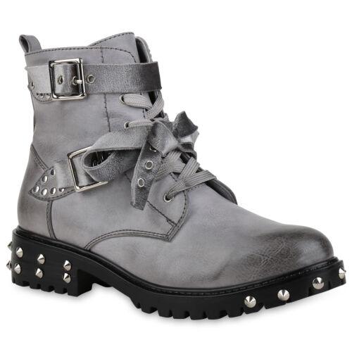 Damen Stiefeletten Biker Boots Nieten Samt-Optik Schleifen Schuhe 820456 Top