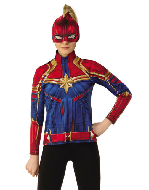 Captain Marvel Womens Adult Ms Marvel Costume Top And Mask Set Xs For Sale Online Ebay Everything from cosplay options to a shirt featuring brie larson! captain marvel womens adult ms marvel costume top and mask set xs