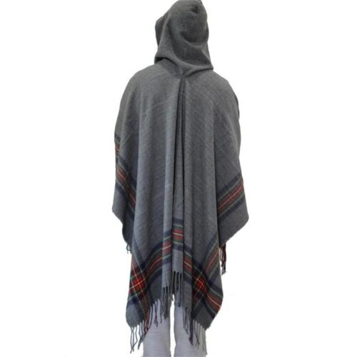 Mens Womens Wool Blend Stripe Hooded Shawl Cloak Boho Gypsy Hippie Cape Poncho