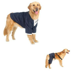 Dogs-Clothes-New-Fashion-Formal-Tuxedo-Style-Striped-Bow-tie-Suit-Pants-Costume
