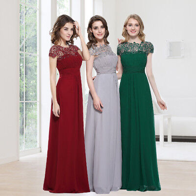 Ever-pretty Long Bridesmaid Dresses Lace Bead Maxi Formal Evening Dresses 09993