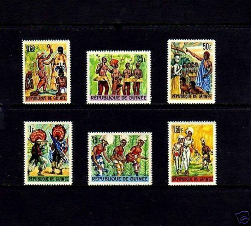 GUINEA - 1966 - FOLK DANCES - COSTUMES - MINT - AFRICAN CULTURE - MNH  SET OF 6!