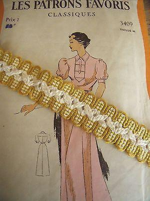 MS ANCIEN GALON PASSEMENTERIE BOLIVIA  PASSE RUBAN VELOURS 15MM vendu au mètre