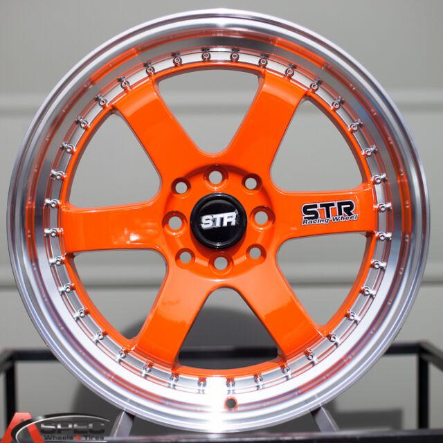 17X7 STR 510 4X100 ORANGE WHEEL FIT KIA RIO SCION XB XA MAZDA MIATA 323 MX-3 MR2