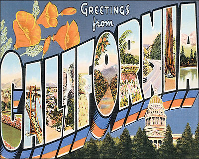 POSTER GREETINGS FROM ATLANTA GEORGIA LANDMARKS USA TRAVEL VINTAGE REPRO FREE SH
