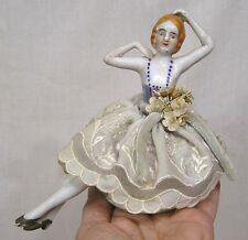 Vintage Pincushion Doll w Legs Original Clothes Flowers Made in Japan 1930s