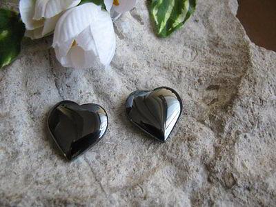 2 Hämatit Anhänger Herz zum Anhänger basteln, Schmuck mit Perlen basteln, Stein