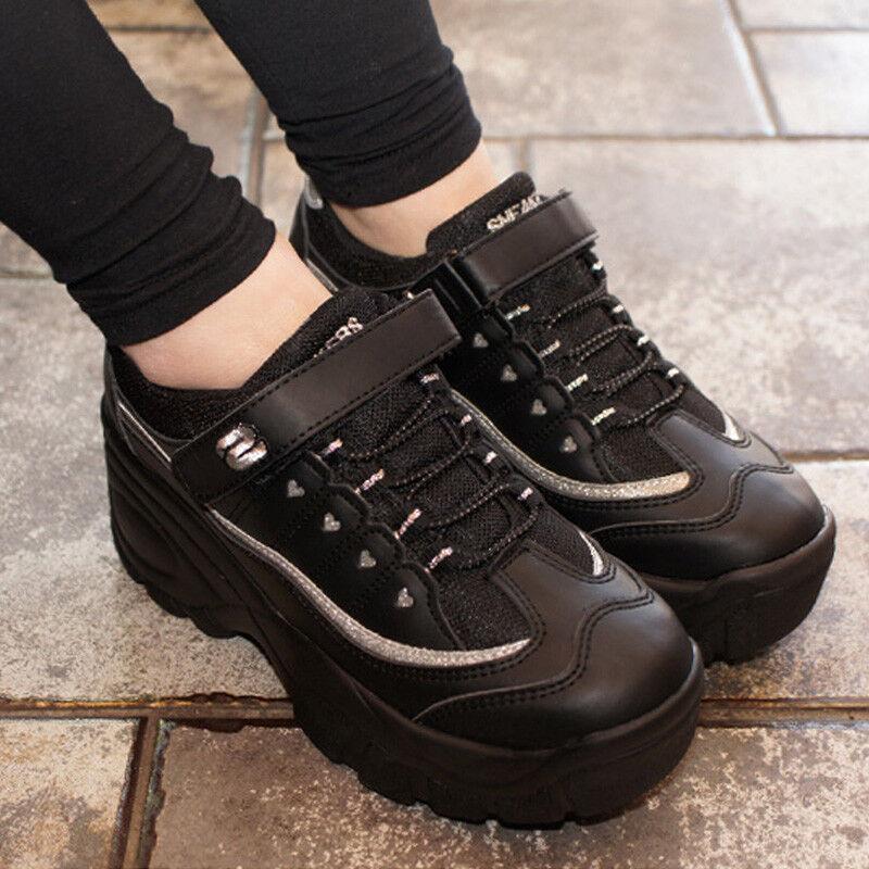 Femmes Talon Haut Baskets chaussures Compensées Plateformes Cheer leader bottes noir