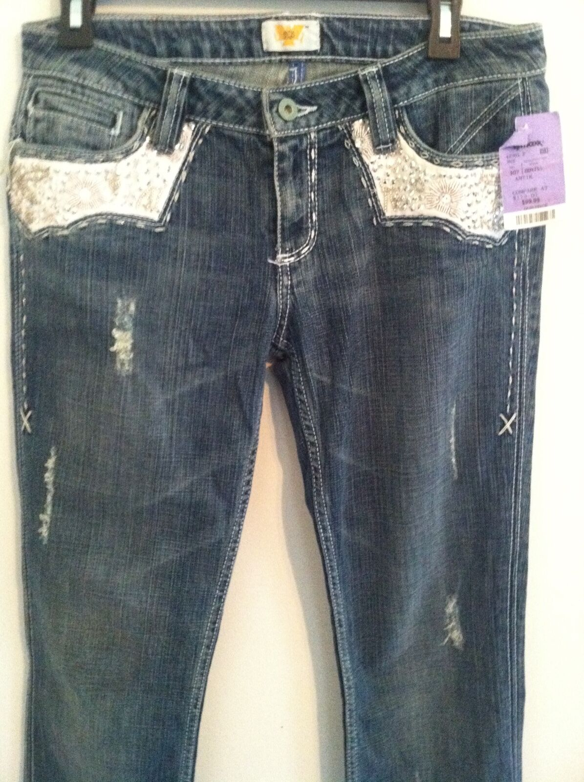 Brand New with Tag women's size 29 Antik Denim embellished bluee distressed jeans