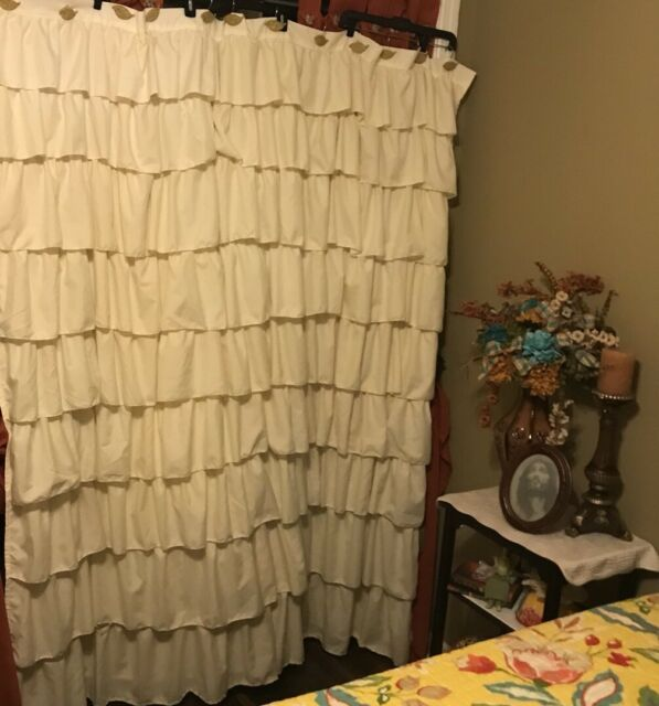 LUSH Ruffle Ivory Shower Curtain SET NEW W Leaf Hooks Mustard Yellow 72