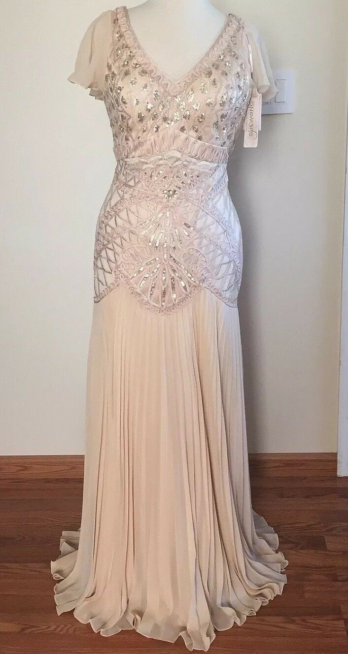 SUE WONG Champagne Embroidered Sequin Beaded Bridal Wedding Gown Dress 8