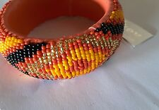 NEW ANTHROPOLOGIE ORANGE BEADED ETHNIC BANGLE
