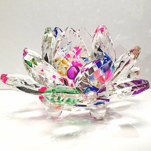 Amlong Crystal Sparkle Lotus Flower Feng Shui Home Decor For Sale