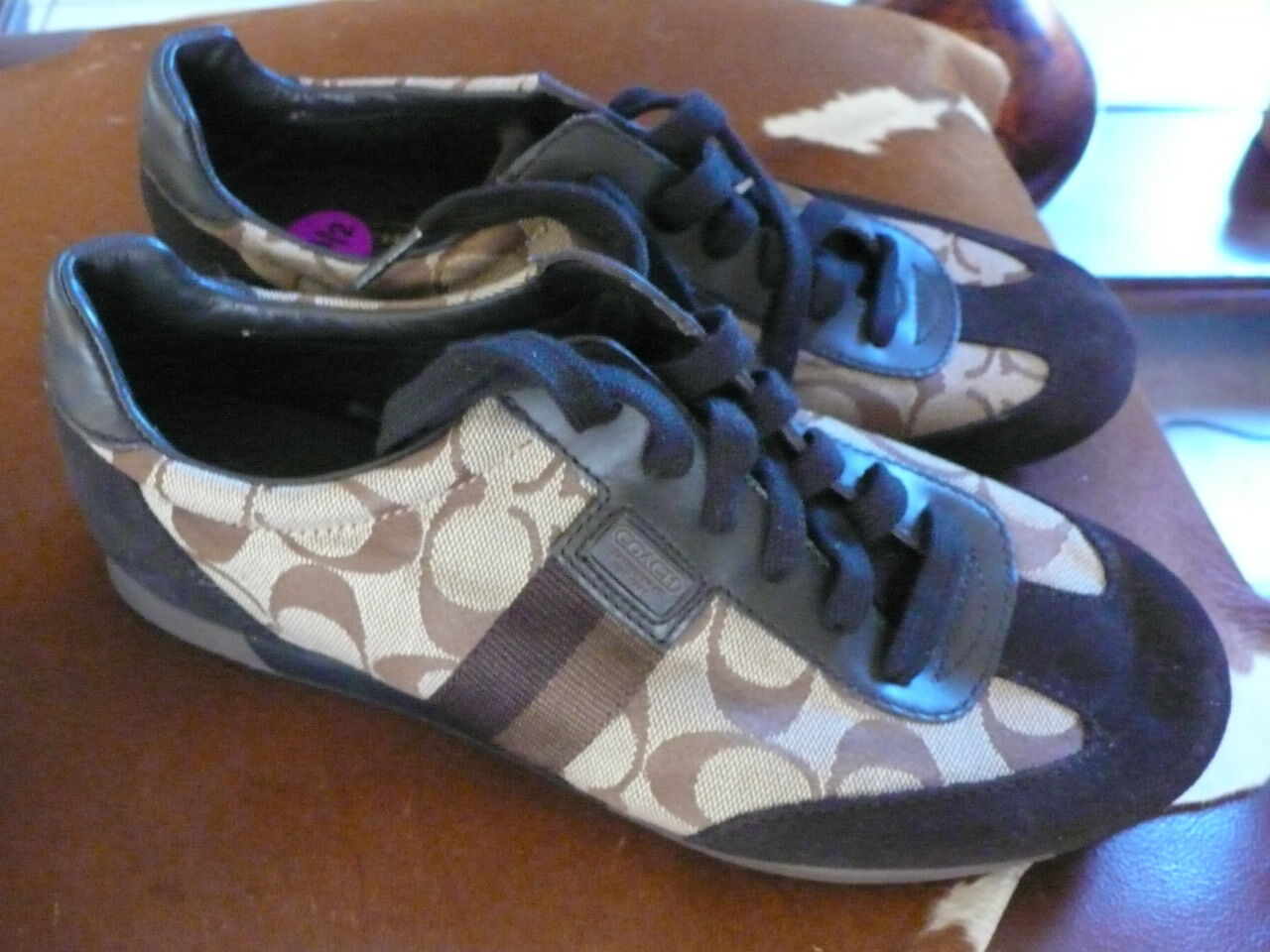 COACH JOSS, CHOCOLATE BROWN / BEIGE SIGNATURE PRINT SNEAKERS 8.5 NEW