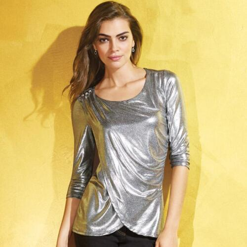 Womens Reflective Silver Metallic Draped Top 3//4 Sleeves Size Small 6-8