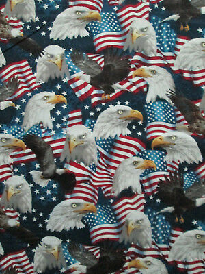 Patriotic Packed Flag /& Flying Eagle Made in USA 100/% cotton Fabric by the yard