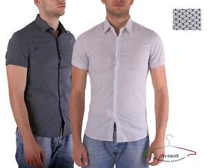 Camicia-Uomo-Cotone-Slim-Fit-Manica-Corta-Fantasia-Nido-D-039-Ape-Casual-AVINOIT
