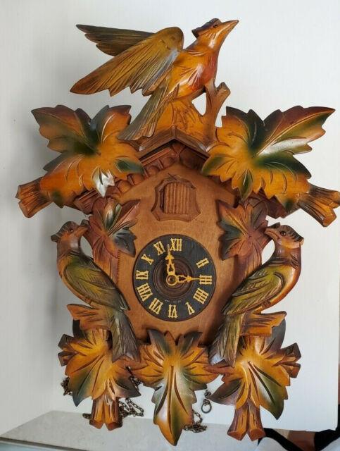 Vintage Cuckoo Clock West Germany Birds Leaves Style Works Missing Numeral