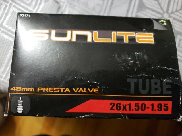 "Sunlite Bicycle Inner Tube 26 x 1.50-1.95/"" ISO 559 Presta Valve 32mm Bike 63101"