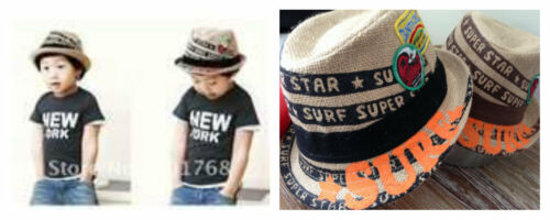 52cm fits approx 3-6 year boys or girls straw surf fedora hats