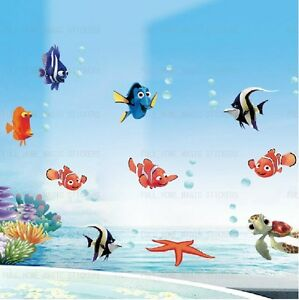 Image Is Loading Finding Nemo Wall Stickers Colourful Fish Sea Bathroom