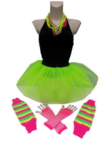 NEON TUTU SKIRT 80S FANCY DRESS HEN PARTY FUN RUN BEADS LEGWARMERS GLOVES PLUS