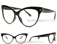 """Pointy Cat Eye Glasses"" BLACK w CLEAR LENS nikita rockabilly pin up girl vtg"