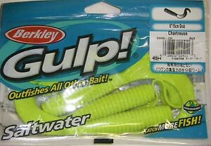 Berkley-Gulp-Saltwater-Fishing-Lure-6-034-Grub-CHARTREUSE-GSG6-CH