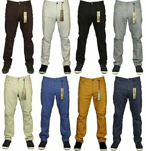 Kam-Mens-Chinos-Trousers-Casual-Straight-Leg-Chino-Jeans-Pants-All-Waist-Size