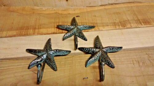 3  Cast Iron Nautical STARFISH Coat Hook