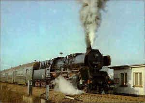 EISENBAHN-Motiv-AK-DDR-Lokomotive-Dampflok-Gueter-Personenzug-bei-Evershagen