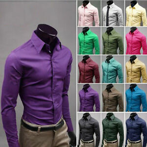 US Luxury Hot Men Slim Fit Shirts Long Sleeve Dress Shirt Casual T-Shirt Formal
