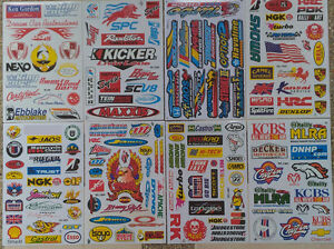 Set 8 Sheets Rc Car Mini Racing Assorted Stickers Decals Free Ship