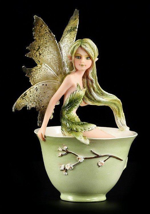 Figura Elfos - Grün Tea faery - Taza Fairy Amy braun Figura de colección