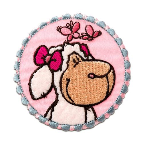 NICI Schaf Kopf Tier Kinder Bügelbild Aufnäher Ø7,2cm pink