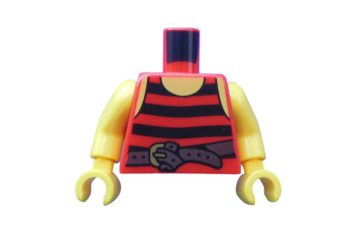 Lego Torso in rot schwarze Streifen Gürtel gelbe Arme Hände Pirat Oberkörper Neu