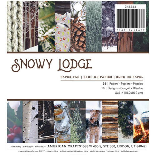 American Crafts Snowy Lodge 6x6 Paper Pad 36 sheets Winter Snow Photo Real