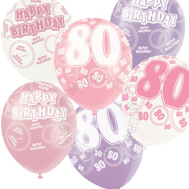 12 Happy 80th Birthday PinkLilacWhite Helium BalloonsPartyVenue Decorations
