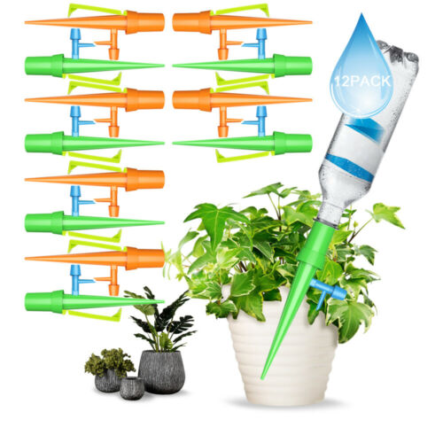 12Pcs Automatic Self Watering Spikes Drip Irrigation Waterer Plant Garden Water
