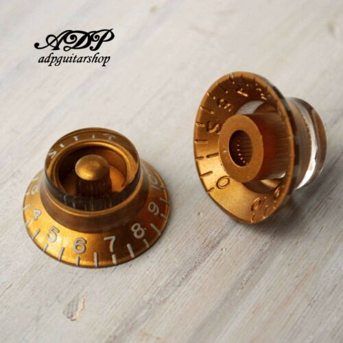 2 Boutons Plexi inch Size Hut-Form Bell Knobs TopHat Vintage Gold Graves LP SG