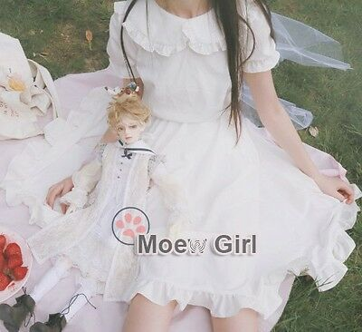 Lolita Angel Pure White Dress Simple Mori Girl Style Mid Length Ruffled Collar