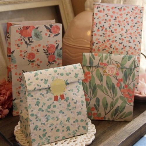 4x Blumen-Blumenpapier-Weihnachtspartei-Feiertags-Plätzchen-Geschenk-Beutel ia