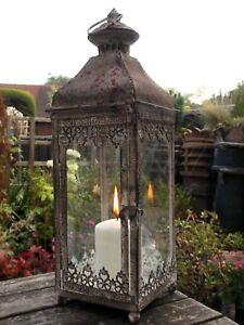 Antique-Vintage-Style-Large-Metal-Lantern-Candle-Holder-Garden-or-Home-Rustic