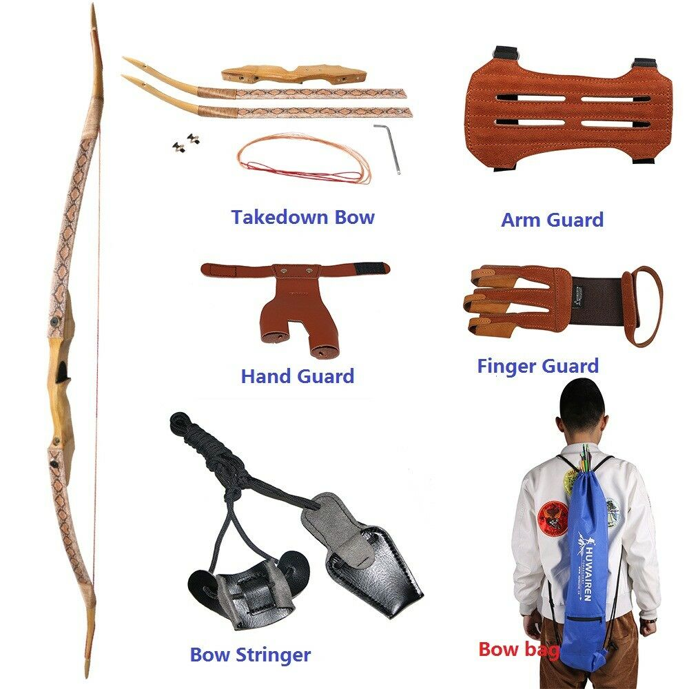 57  Archery Hunting Right Hand Takedown Recurve Bow Longbow Shooting Set 35-50Lb