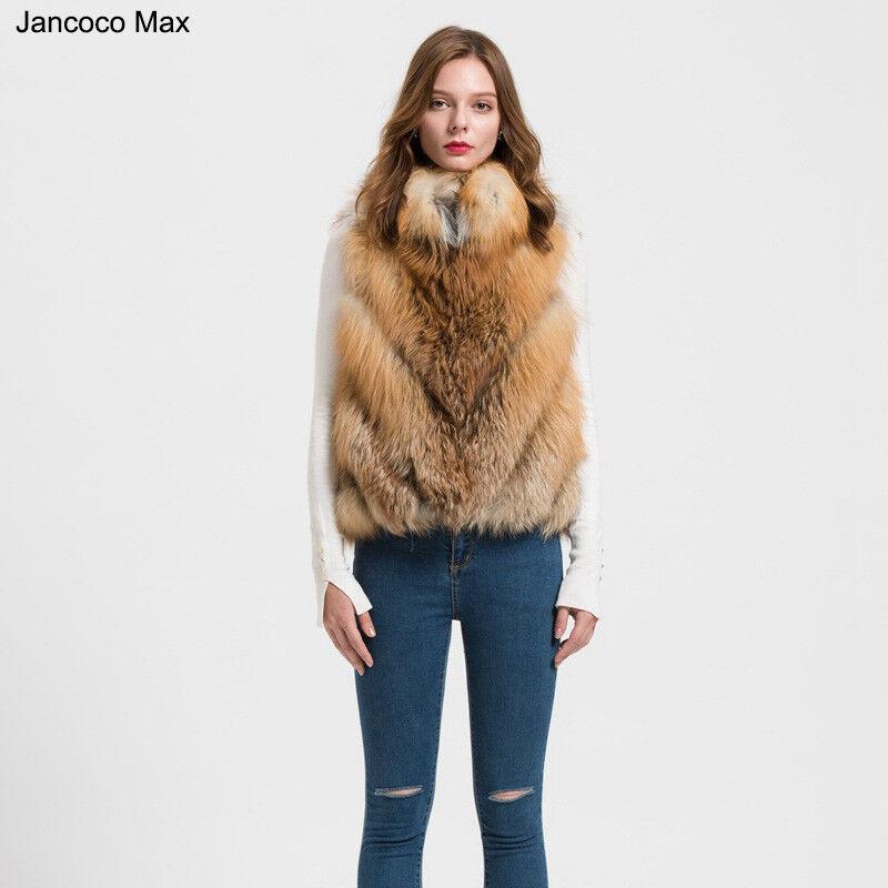 Echte Fuchspelz Weste Frauen Winter Mode Mantel Stehkragen 61708