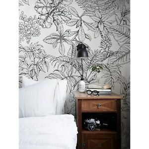 Sketch-tropical-drawing-Non-Woven-wallpaper-Hand-drawn-Home-wall-mural-Drawing