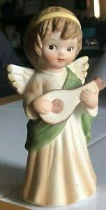Vintage Lefton Angel Playing A Guitar Porcelain Figurine #02473